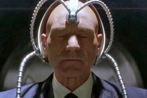 Patrick Stewart as Professor X in the X-Men movies.