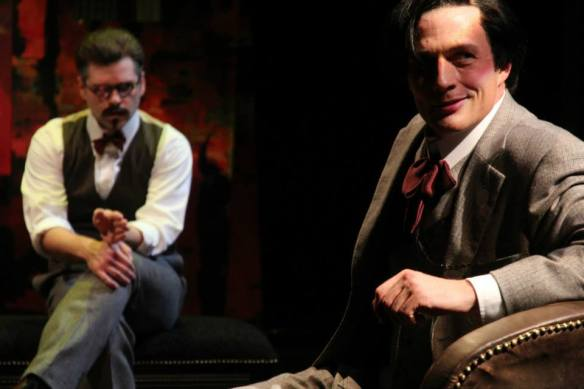 Nate Burger as James Joyce and myself as Tristan Tzara in American Players Theatre's production of TRAVESTIES, byt Tom Stoppard. Photo by Carissa Dixon